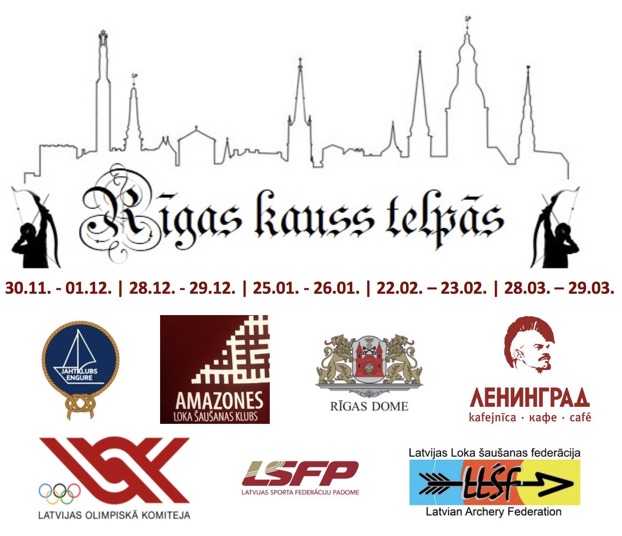 Rīgas Kauss Telpās ar logo un datumiem