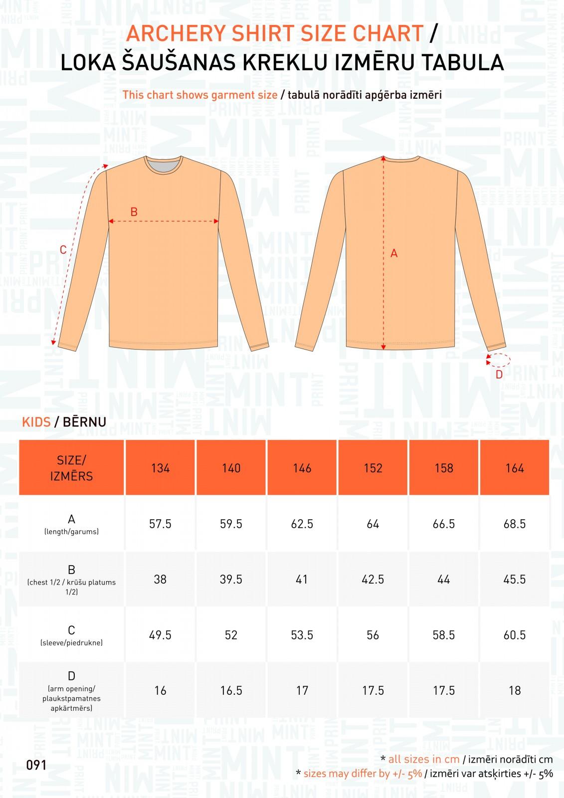 091 - Archery kreklu izm tabulas - KIDS