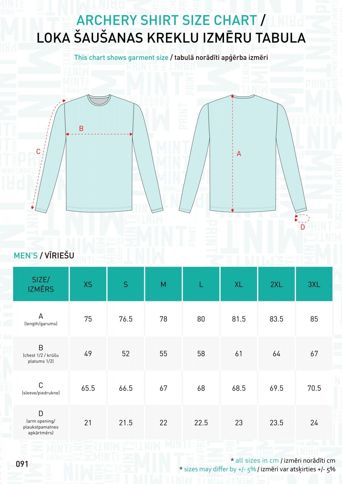 091 - Archery kreklu izm tabulas - MEN