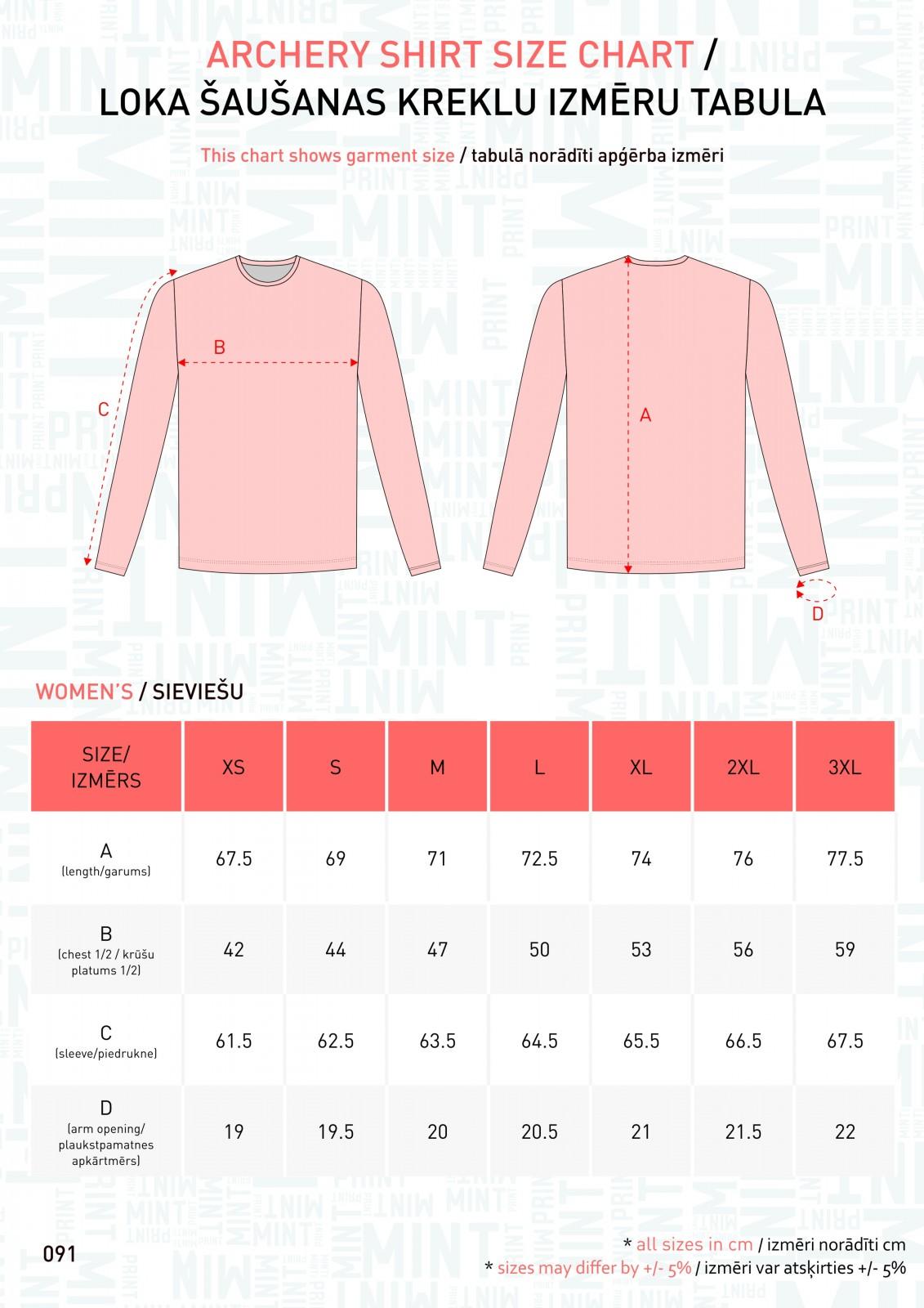 091 - Archery kreklu izm tabulas - WMN